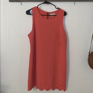 Coral sheath dress with scalloped bottom